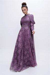 Yaka Ve Bel Taşlı Omuz Detaylı Dantel Uzun Abiye Elbise Lila