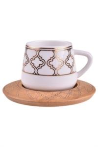 Bambum Hanedan 6 Kişilik Kahve Takımı Desen Altlıklı B0932