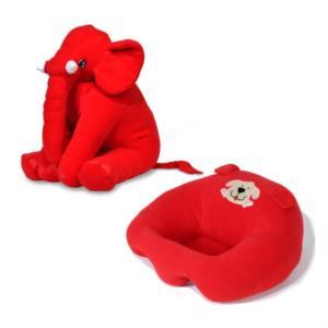 Prado Bebek Destek Minderi Uyku Arkadaşı Fil Yastık Seti Kırmızı