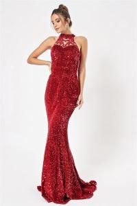 Tül Detaylı Pulpayet Uzun Abiye Elbise Kırmızı