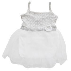 Beyaz Çiçekli Beyaz Tüllü Kız Bebek Elbise