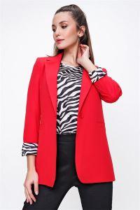 Zebra Desenli İkili Astarlı Ceket Bluz Takım Kırmızı