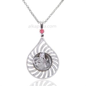 Gümüş İşlemeli Damla Tuğralı Plaka Kolye PLK01-SİLVER