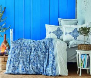 Karaca Home Perissa Mavi Rnf Çift Kişilik Nevresim Takımı (4 Yastık - Pico)
