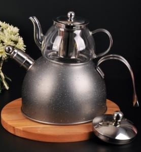 Bayev Granit Düdüklü Cam Çaydanlık-200601- Füme