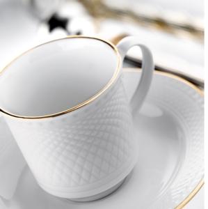 Kütahya Porselen 12 Parça Zümrüt Altın File Çay Takımı