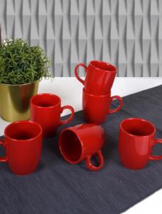 Keramika Kırmızı Bulut Kupa 9 Cm 6 Adet