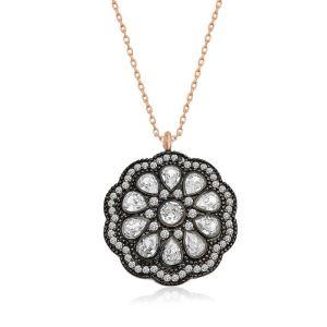 Gümüş Çiçek Desenli Elmas Montür Kolye
