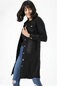 Düğmeli Uzun Kot Ceket Siyah