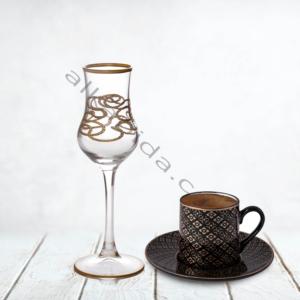 Çınar Kristal 6 Adet Zincir Sade Bistro Kahve Yani Bardak