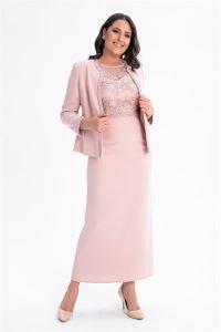 Elbise Ceket Büyük Beden Krep Takım Pudra