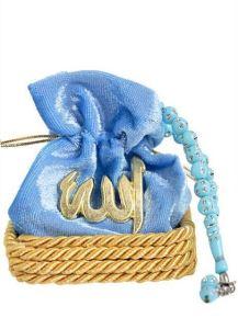 Mavi Kadife Kese Kutulu Tesbih - Mevlid Hediyeliği