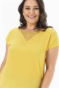 Kolu Yakası Güpür Krep Likra Büyük Beden Bluz Sarı