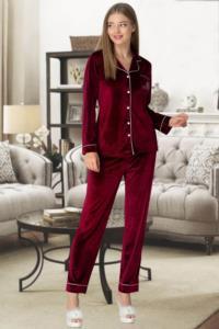 Mecit 5326 Bordo Kadife Önden Düğmeli Kadın Pijama Takımı
