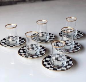 Gürcü Glass 12 Parça Damalı Desen Kulpsuz Çay Seti