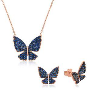 Gümüş Lacivert Kelebek Set
