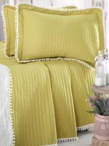 Evim Home Çift Kişilik Ponponlu Yatak Örtüsü Seti Antik Yeşil