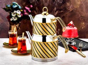 Özlife Nokta Dekorlu Sarı Mini Boy Çaydanlık- 130