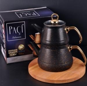 Bayev Metal Kulplı Piramit Granit Çaydanlık- Siyah- 200469