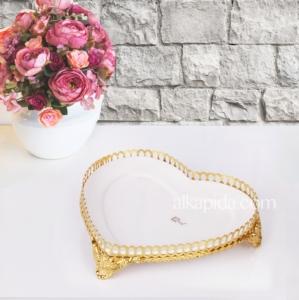 Zerden Fırat Gold Kalp Büyük Sunum Tabağı