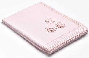 Aybi Baby Flowers Pink 90 x 90 cm Triko Battaniye FLOWERS-3601