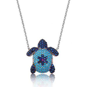 Gümüş Mavi Kaplumbağa Bayan Kolye