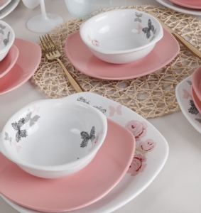 Keramika Gül Trend Yemek Takımı 24 Parça 6 Kişilik