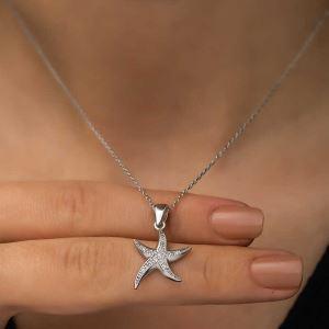 Gümüş Deniz Yıldızı Bayan Kolye