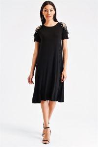 Kolları Güpür Boncuk Detaylı Likra Elbise Siyah