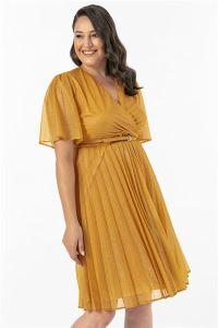 Pliseli Simli Büyük Beden Abiye Elbise Sarı