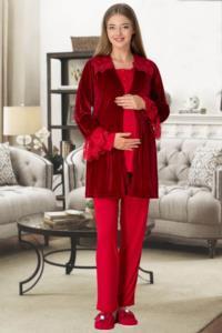 Mecit Kırmızı Kadife Sabahlıklı Lohusa Pijama Takımı 5306K-01