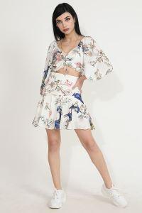 Wpr Çiçek Desen Kadın Bluz Etek İkili Takım