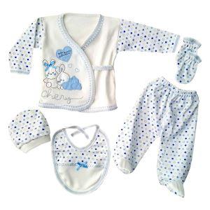 Chery Kalpli Açık Mavi 5 Parça Erkek Bebek Hastane Çıkış Seti