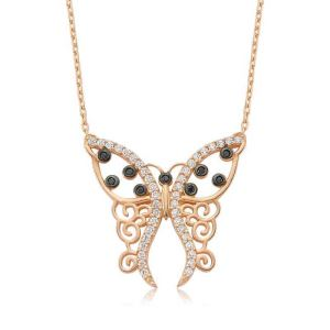 Gümüş Desenli Kelebek Bayan Kolye