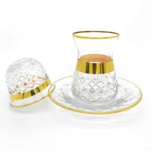 Özcam Kristal 18 Parça Parlak Altın Yaldızlı Çay Takımı D-1599