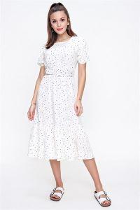 Çiçekli Beli Kalın Kemerli Elbise Beyaz