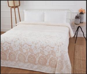Özdilek Tek Kişilik Soft Baskılı Battaniye PVC Dantele Vizon
