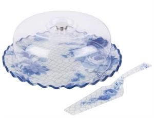 Tantitoni Cam Kuşlu Mavi Çiçekli Fırfırlı 3 Parça Pasta Fanusu Ve Spatula Seti FESTA 3PFKMC