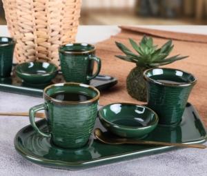 Keramika Zümrüt Kahve Sunum Seti 8 Parça 2 Kişilik