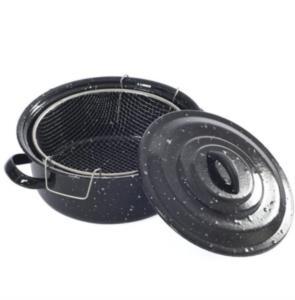 Bayev Siyah Kapaklı Emaye Cips Fritöz Kızartma Tenceresi 25 cm BYVESS213