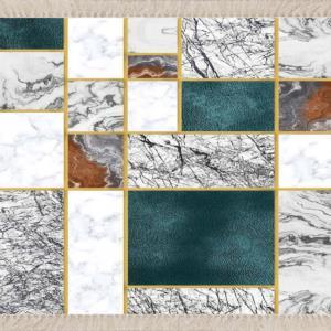 Meg Cloud Dijital Baskı Yıkanabilir Halı Mermer Desenli Gold MEG407K