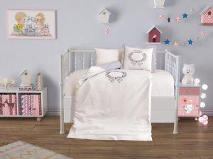 Çeyiz Diyarı Baby Crown Lüx Nakışlı Nevresim Takımı Gri