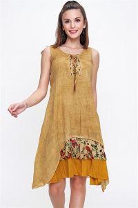 Kolu Yakası Bağlamalı Etek Ucu Çiçek Desenli Otantik Elbise Hardal