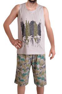 Tom John Erkek Şort Bermuda Pijama Takımı Geniş Askılı Cepli Pamuk