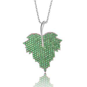Gümüş Yeşil Yaprak Bayan Kolye