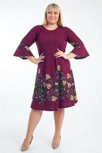 İspanyol Kol Çiçek Desenli Örme Krep Büyük Beden Elbise Bordo