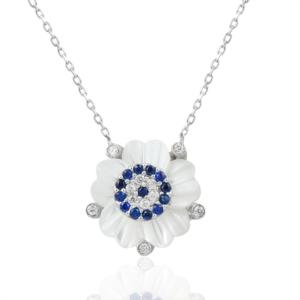 Gümüş Nazar Boncuklu Çiçek Kolye KL125