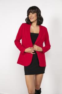 Saygı Şal Yaka Önü Düğmeli Sahte Cepli Kırmızı Ceket