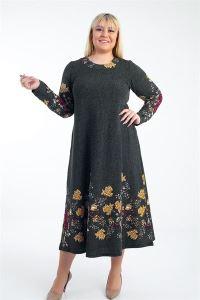 Kırçıllı Çiçekli Örme Krep Büyük Beden Likra Elbise Haki