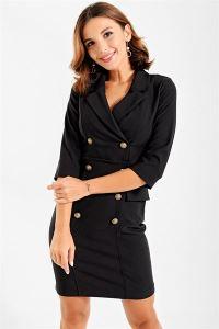 Kollu Ceket Elbise Siyah
